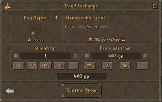 Comment faire pour obtenir le pied d'un lapin chanceux dans RuneScape